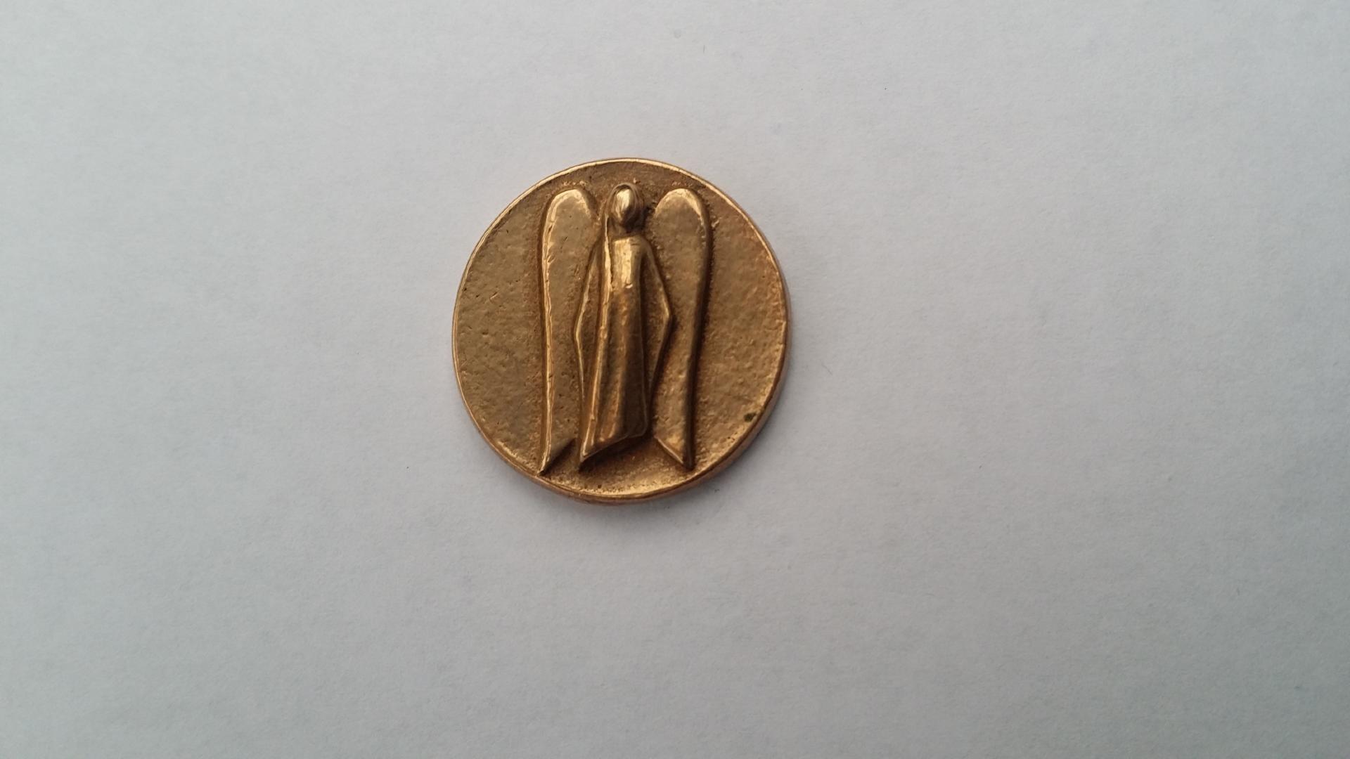Munt beschermengel brons