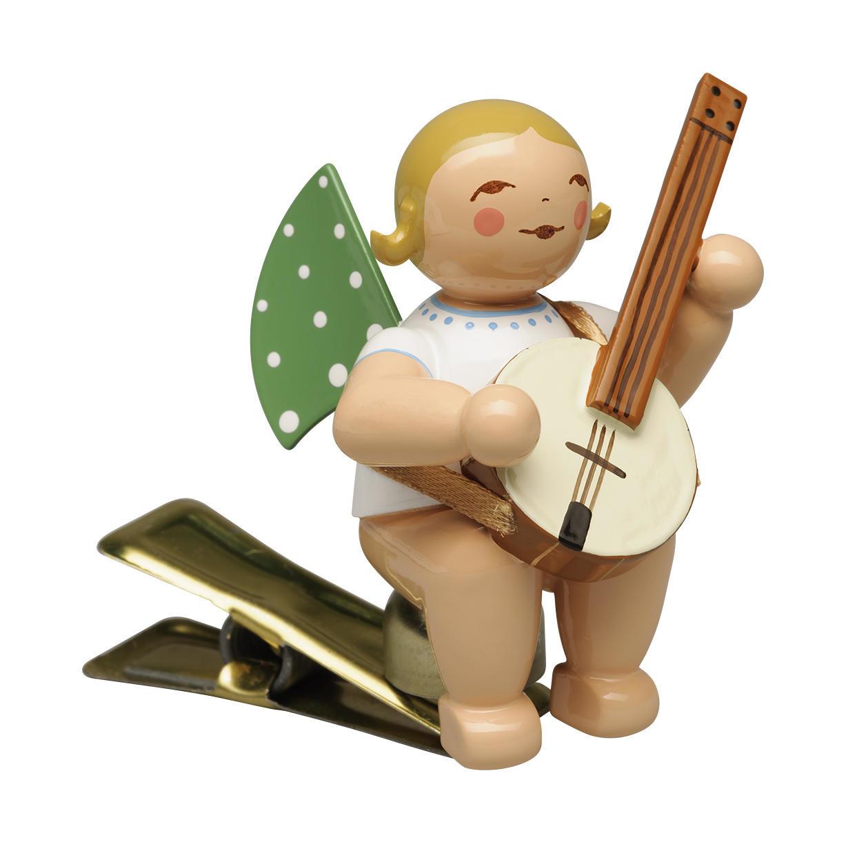 Engel met banjo - knijper (blond)