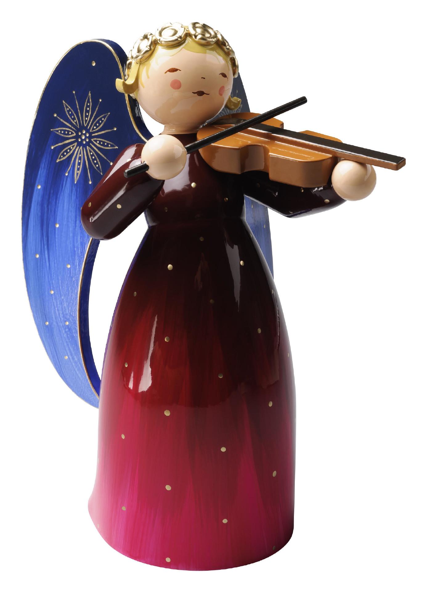 Engel met viool (rood) 17 cm