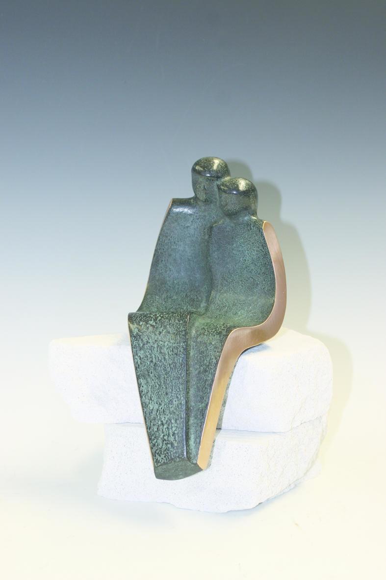 Brons - zittend paar groot
