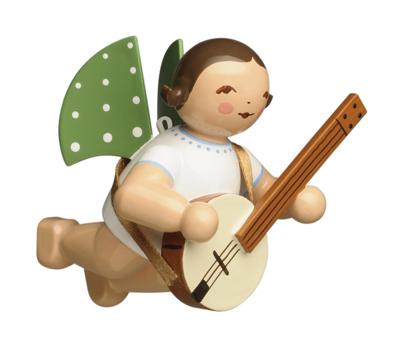 Engel met banjo - zwevend (bruin)