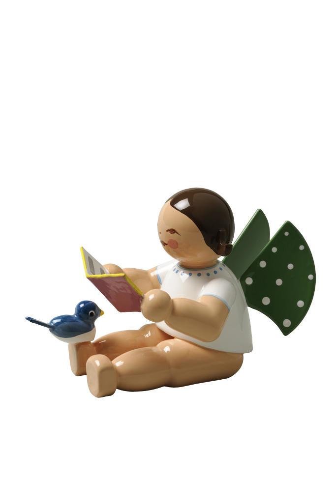 Engel met songboek en vogel